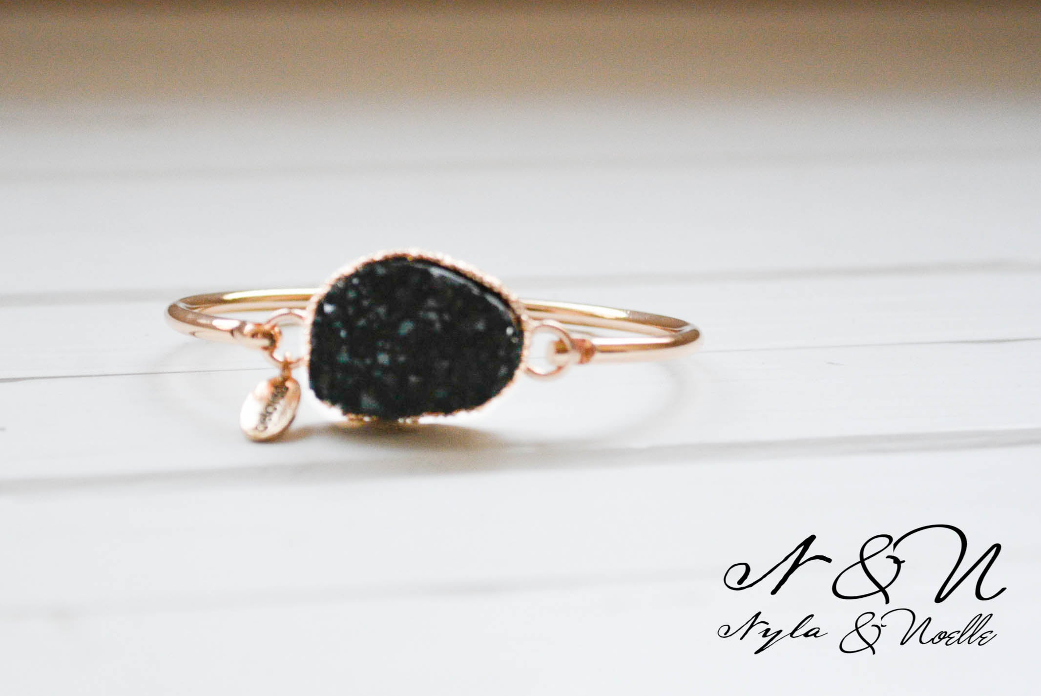 BRAZEN BLACK - Gold Tone Bangle with Black Druzy Stone