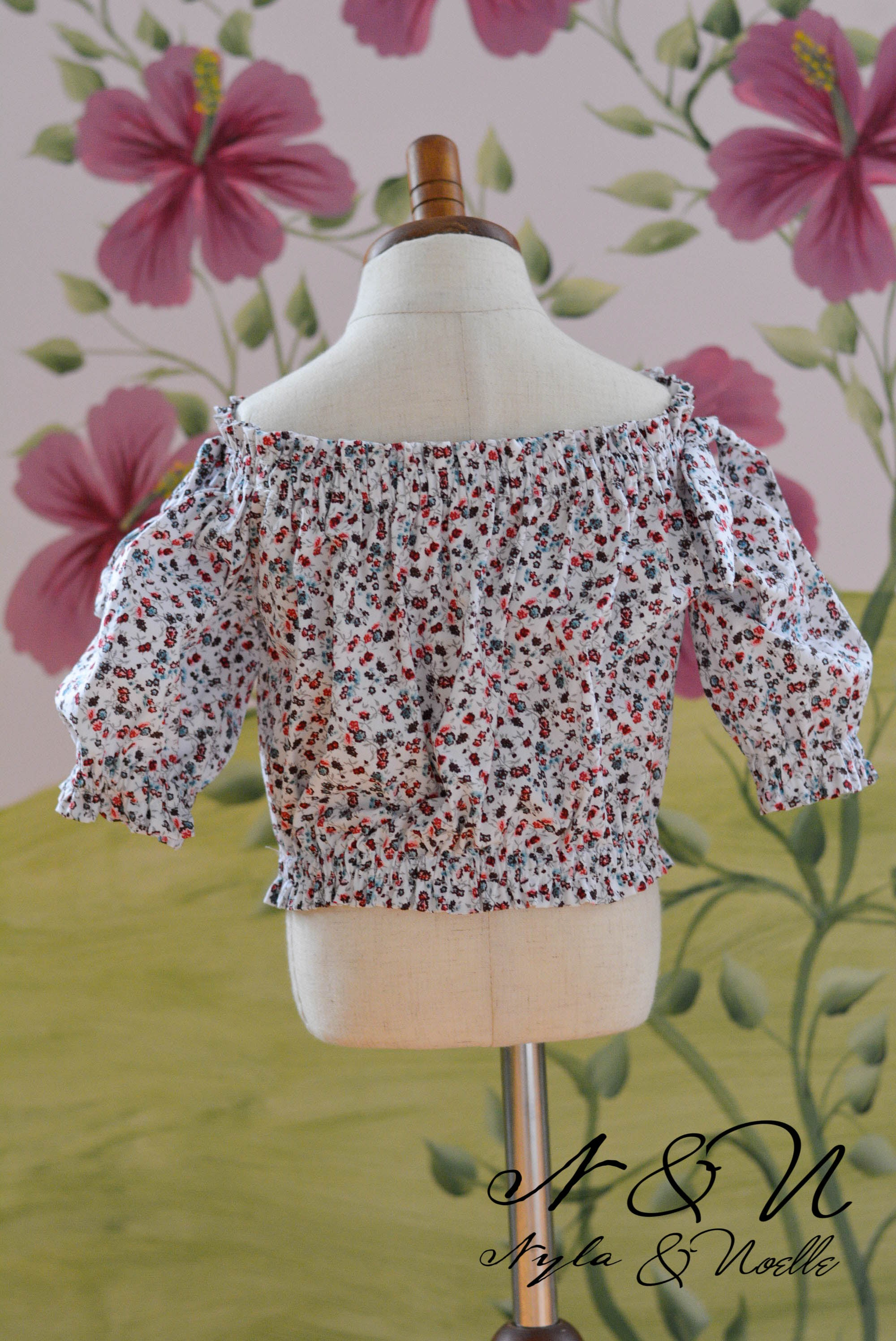 PETITE FLORET - Girls Floral Bubble Shirt with Shoulder Tie Accents