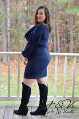GINGER - Plus Size Sweater Dress with Ruffle Top