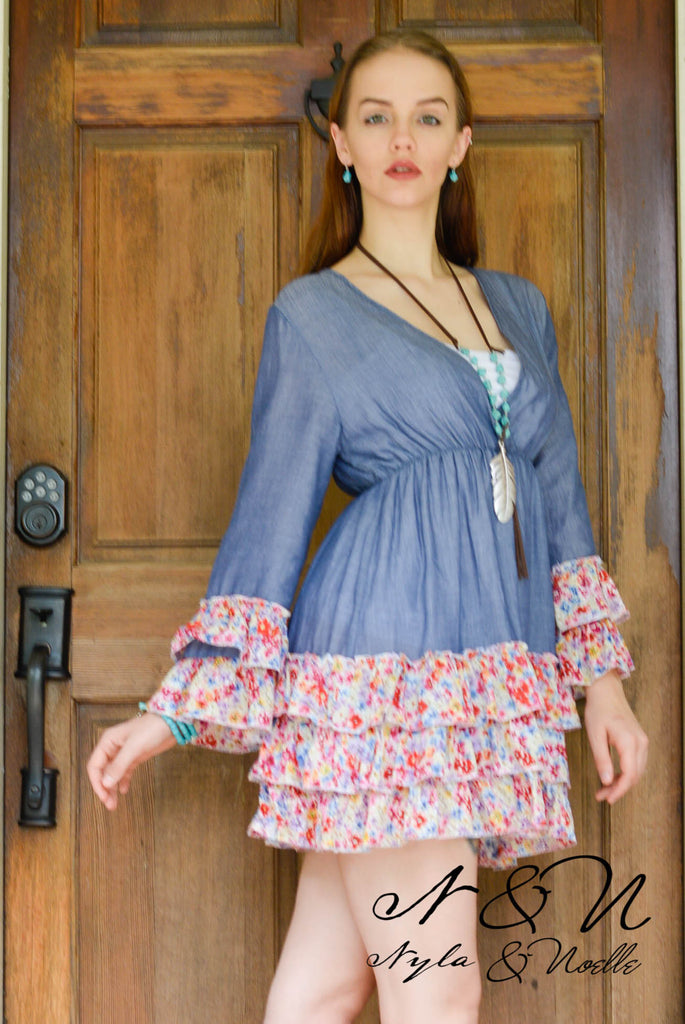 DIXIE - Dark Tunic or Dress with Floral Ruffles