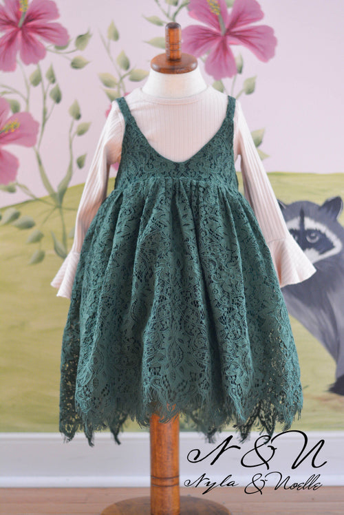 SWEET PEA - Girls Two Piece Emerald Lace Dress with Bell Sleeve Layer Top