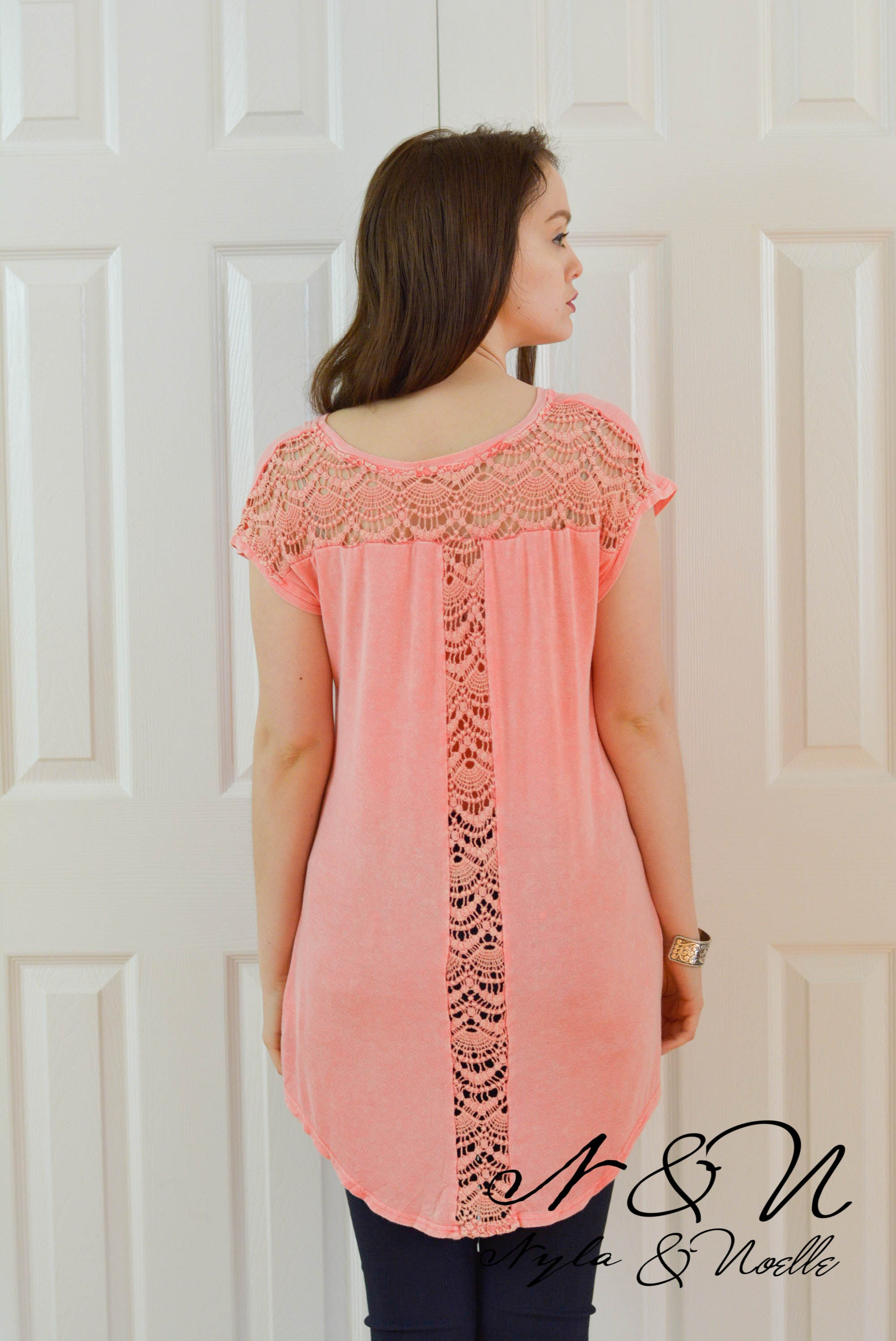 IUKA ROAD - Coral Tunic Length TShirt with Crochet Lace Panels