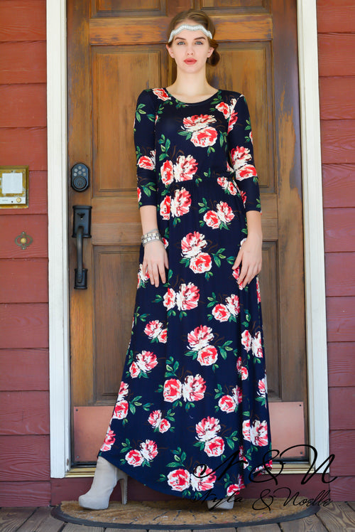 MALLORY - Long Sleeve Floral Maxi Dress