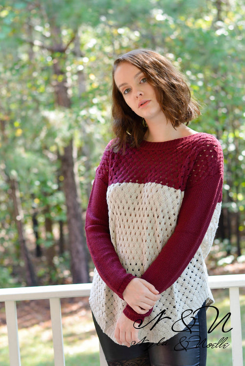 ASHER - Open Knit Color Block Sweater