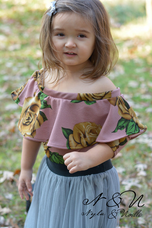 WINTER ROSE - Floral Girl's Leotard Top with Ruffle