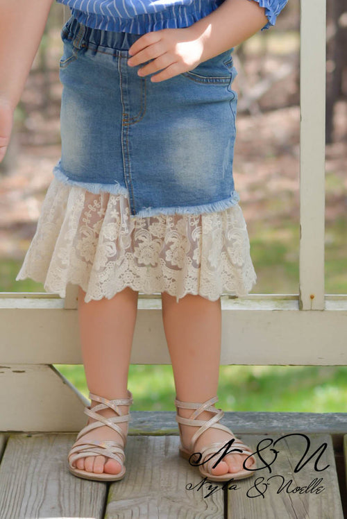 SUGAR PUFF - Lace Hem Denim Skirt