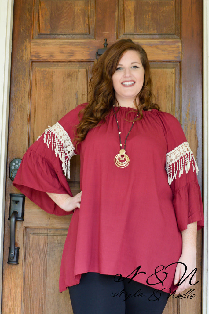 NELLY - Plus Size Tunic in Sangria or Black