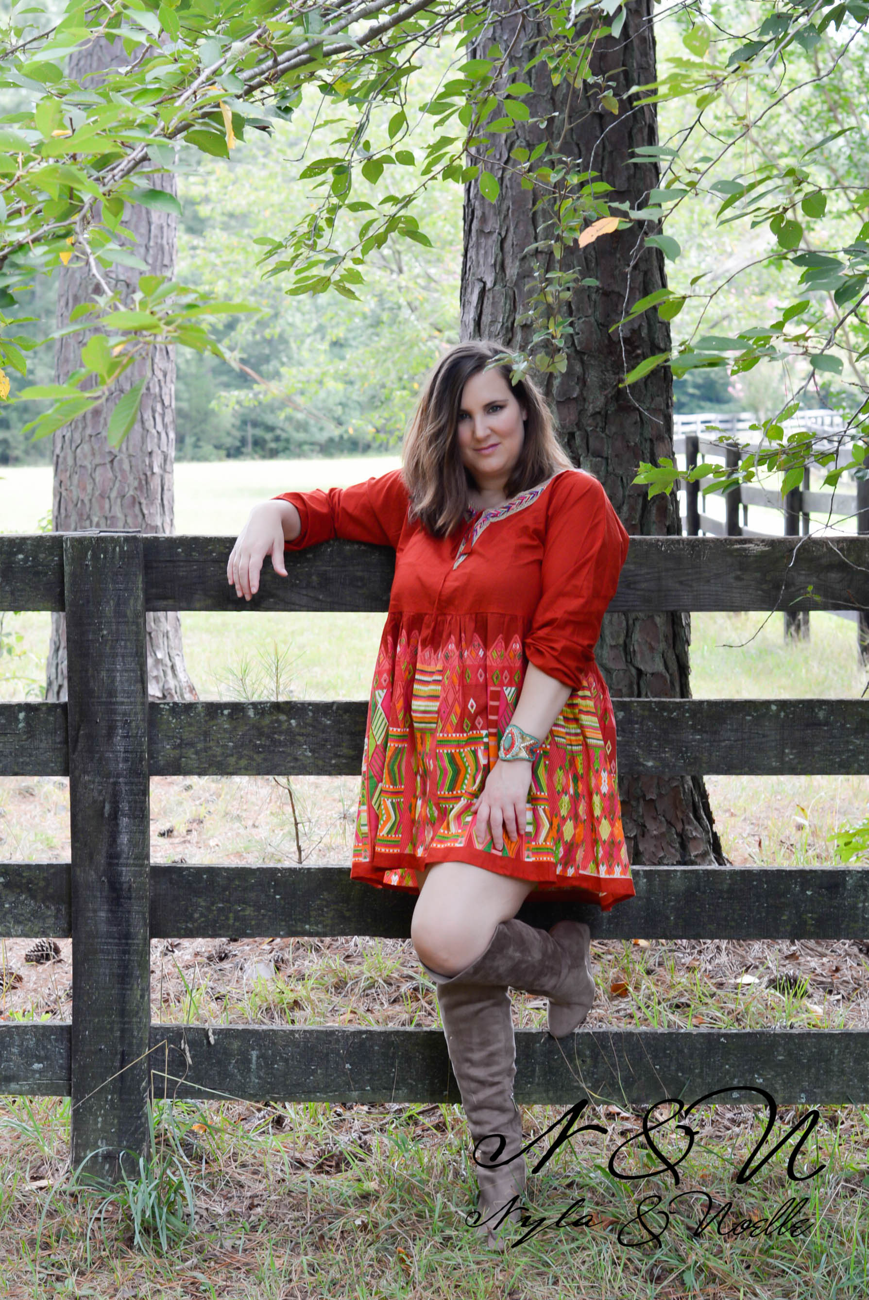 Loretta (Sunset) Plus Size BOHO Print Dress