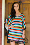 PAINTED DESERT - Striped V Neck Dress with Tassel Fringe - Available in Plus