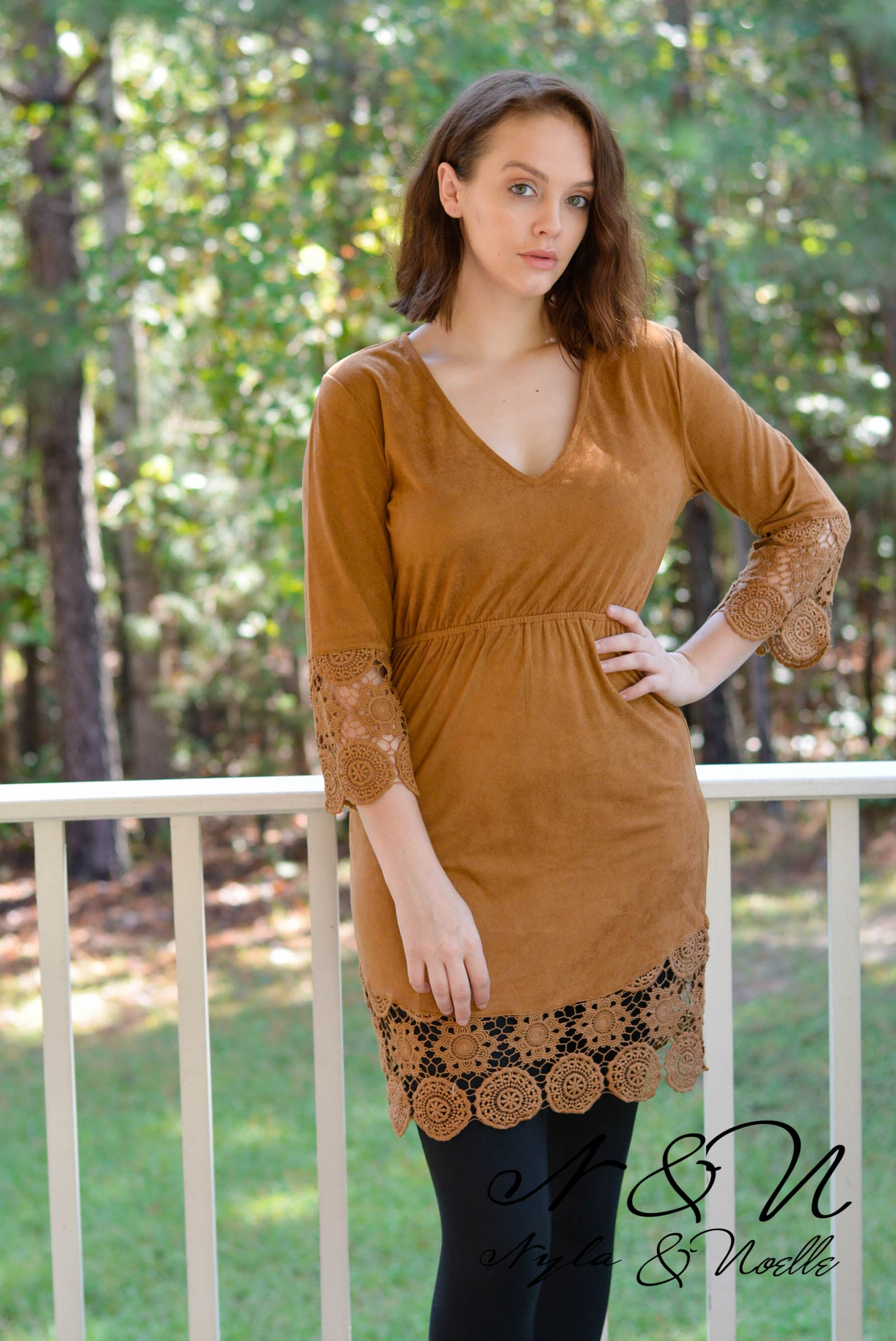 CHARLY - Micro-Suede Long Tunic or Leggings Dress with Crochet Lace Accents 59bb50311