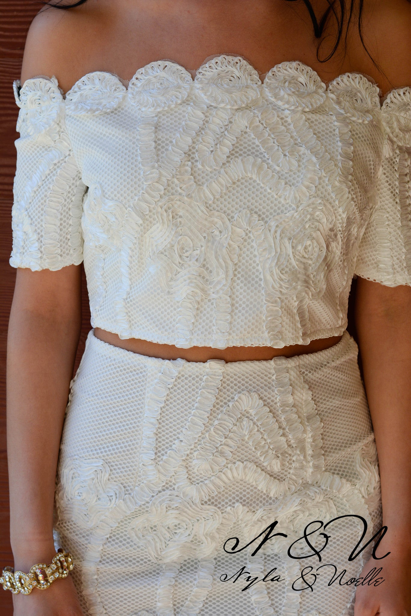 POSH IN LACE - White Lace Two Piece Cocktail Dress