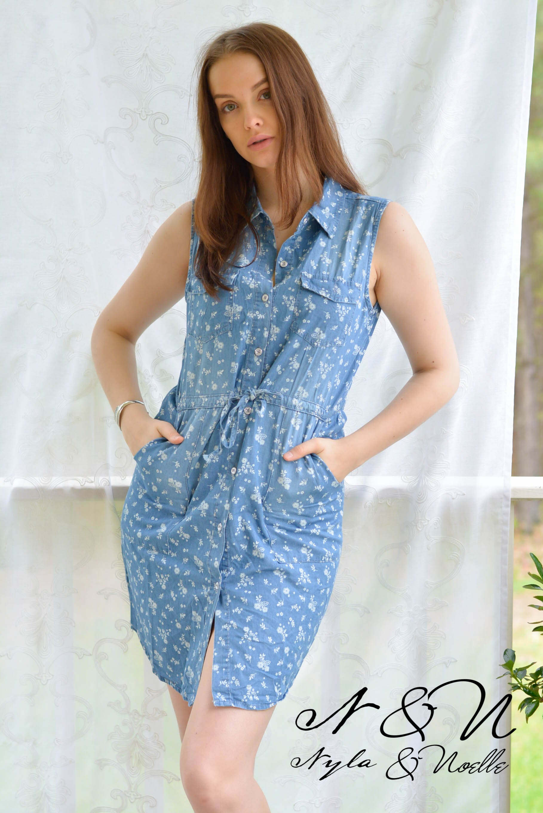 LACEY - Chambray Button Down Dress with Floral Print