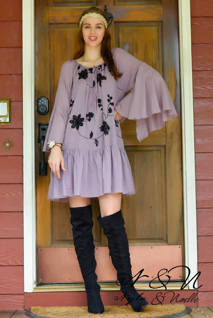 ELOWEN - Bell Sleeve Embroidered BOHO Dress Vintage Lilac
