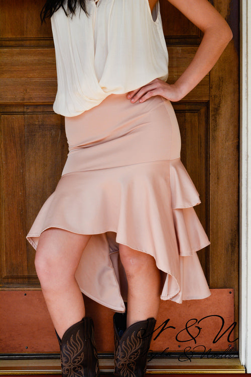 Desert Rose - Layered Ruffle High Low Skirt