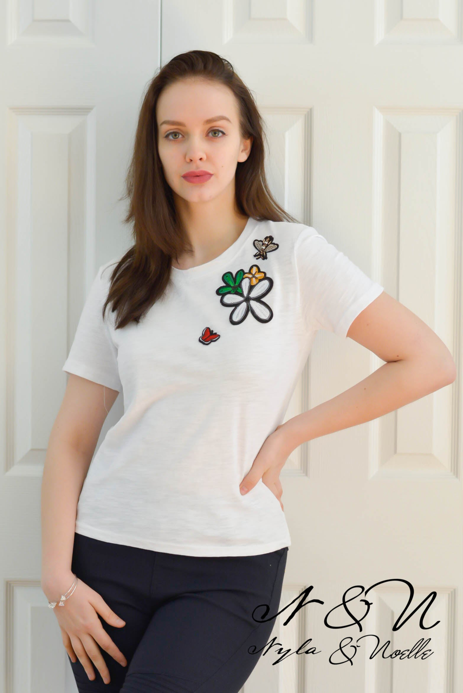 QUEEN BEE -  Vintage Burn Out Cotton Tee with Jeweled Bee Patch