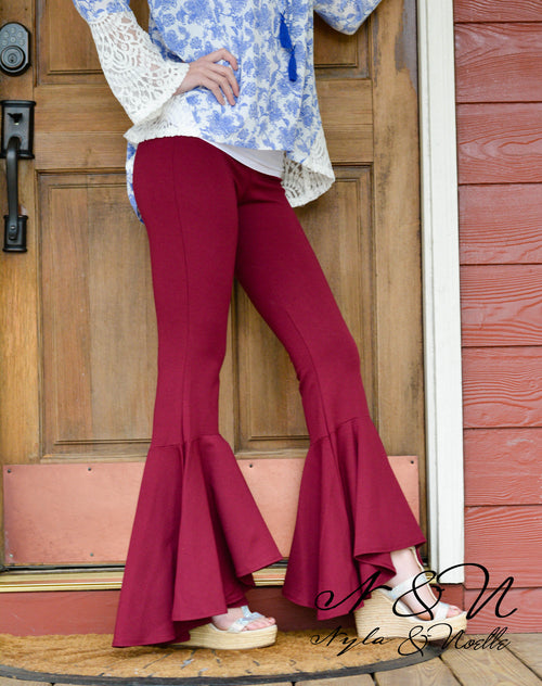 FIREWORKS - Ponti Flared Bottom Pants - Black or Sangria