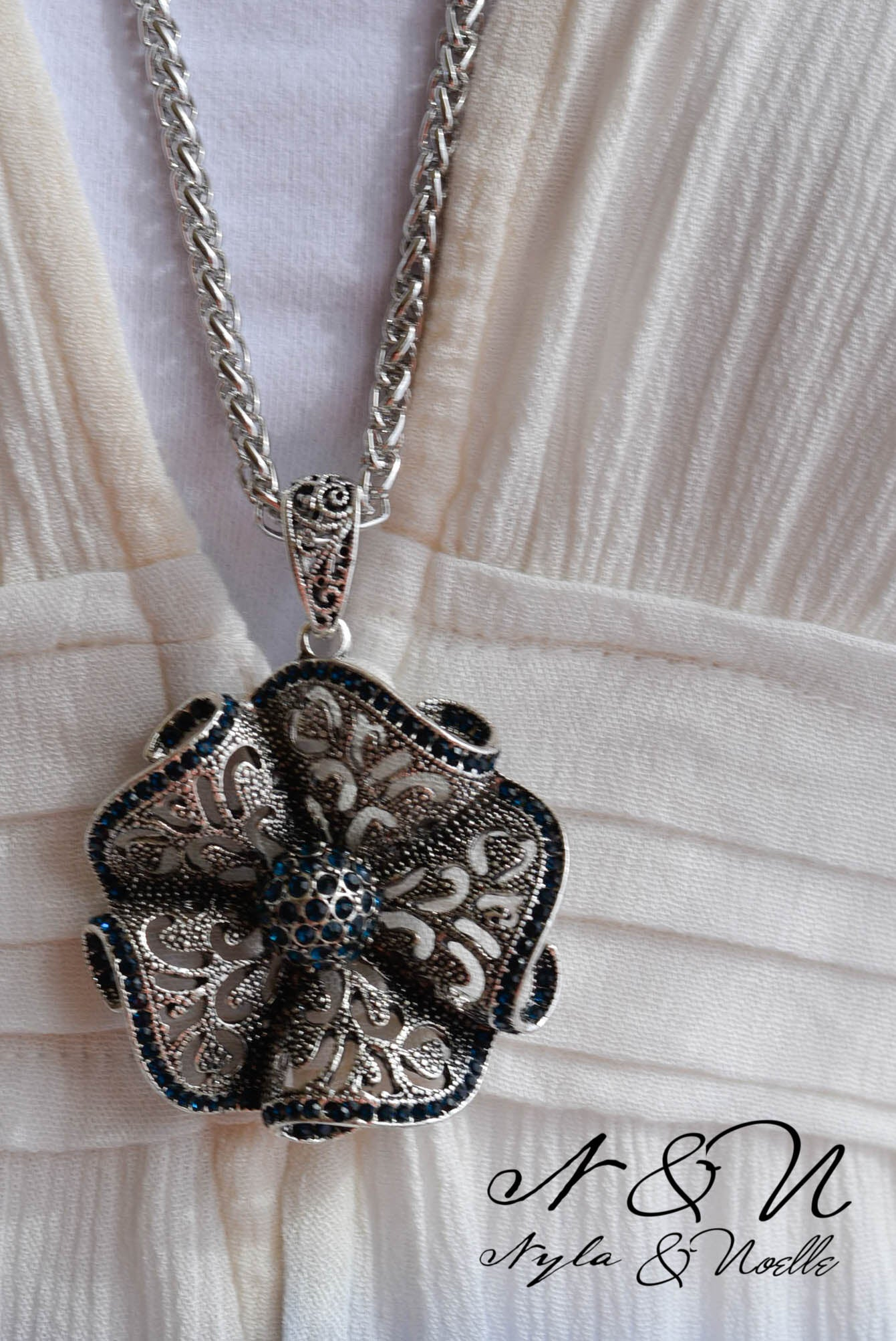 WILD FLOWER - Western Ornate Flower with Sapphire Colored Stones Necklace