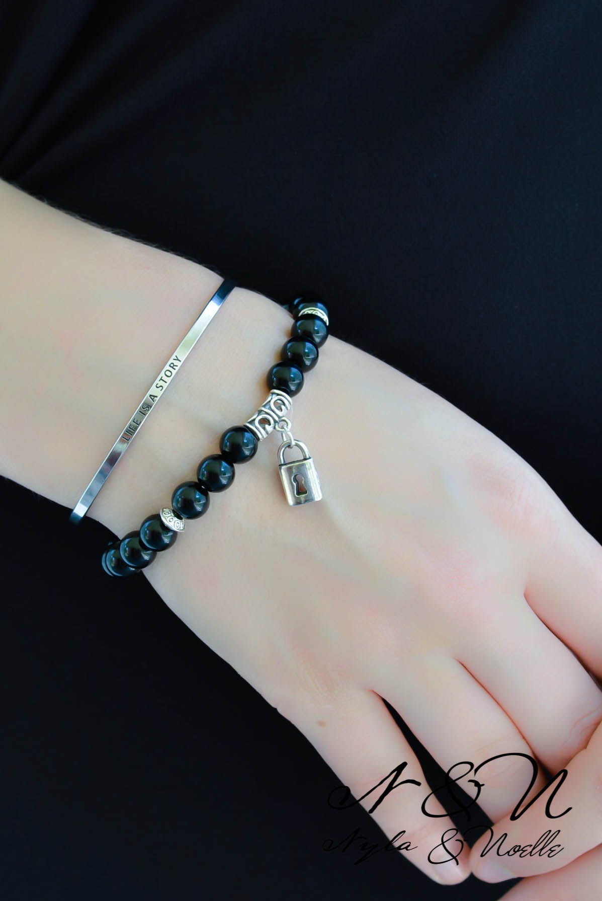 LOVE LOCK - Onyx Natural Stone Bead Bracelet with Lock Accent