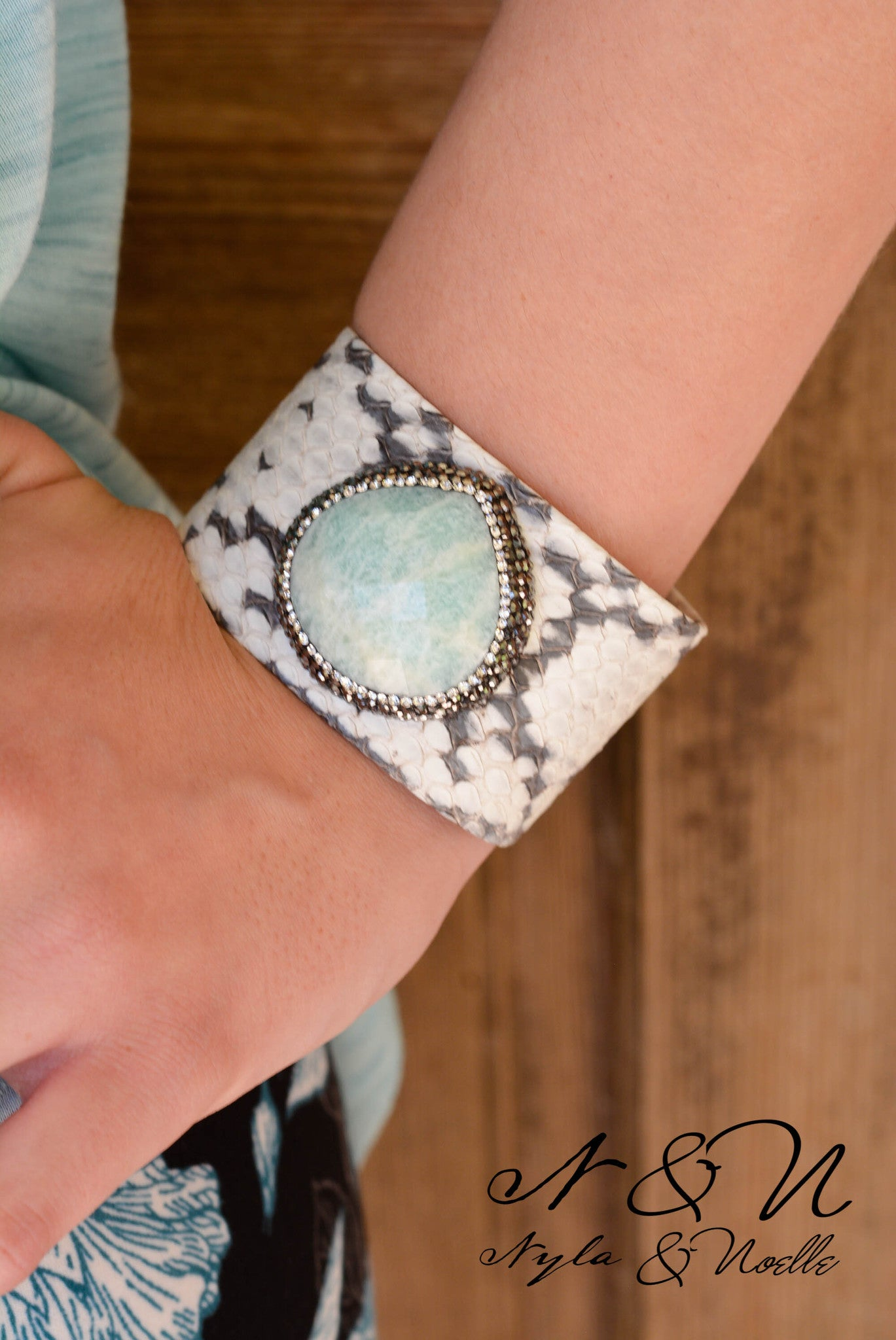 WHITE SNAKE - Genuine Snake Skin Leather and Amazonite Semi Precious Cuff Bracelet PRE ORDER