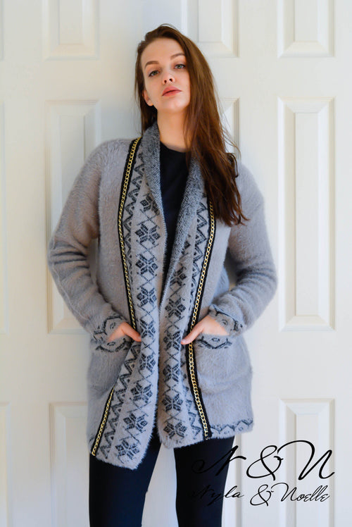 KATERI - Gray Cardigan Wrap with Gold Chain Accent