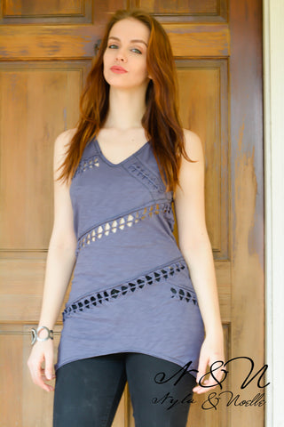 IN A KNOT - Vintage Destroyed Tank Top with Intricate Knot Detailing