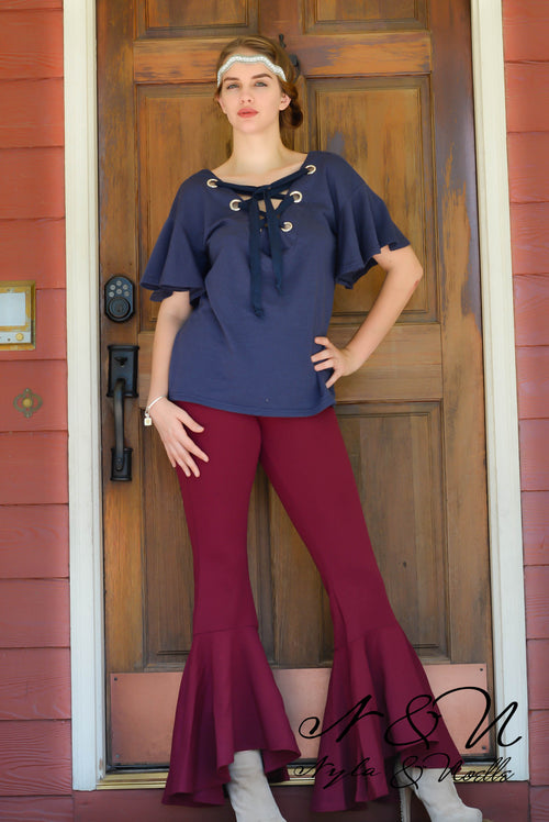 GRAYSIE - Lace Up Neckline Top with Flutter Sleeves