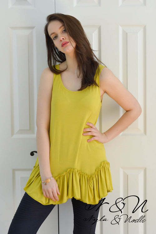 WILD WEST - Desert Lime Ruffle Edge Long Tank Top