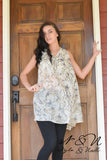 BREEZY - Ivory Floral Chiffon Long Tunic or Dress