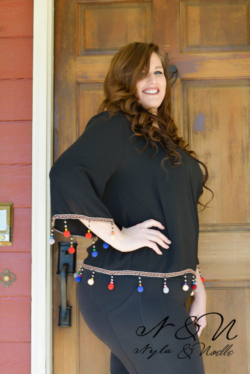 Confetti - Plus Size Chiffon Top with Beads and Pom Poms