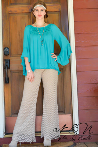 BLAZE - Cafe - Chevron Patterned Lined Lace Pants