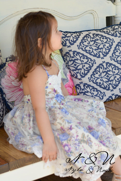 LAVENDER AND LACE - Girls Floral Tulle Lace Hem Dress