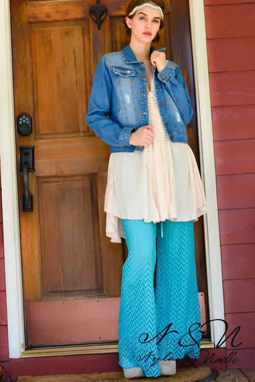 BLAZE - Turquoise - Chevron Patterned Lined Lace Pants