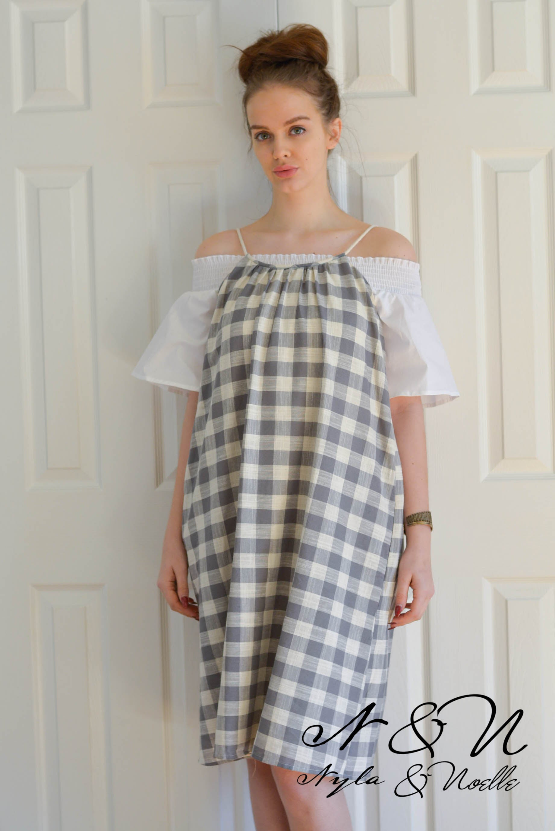 SAWYER - Gray/Cream Rustic Checked Pillow Case Style Dress