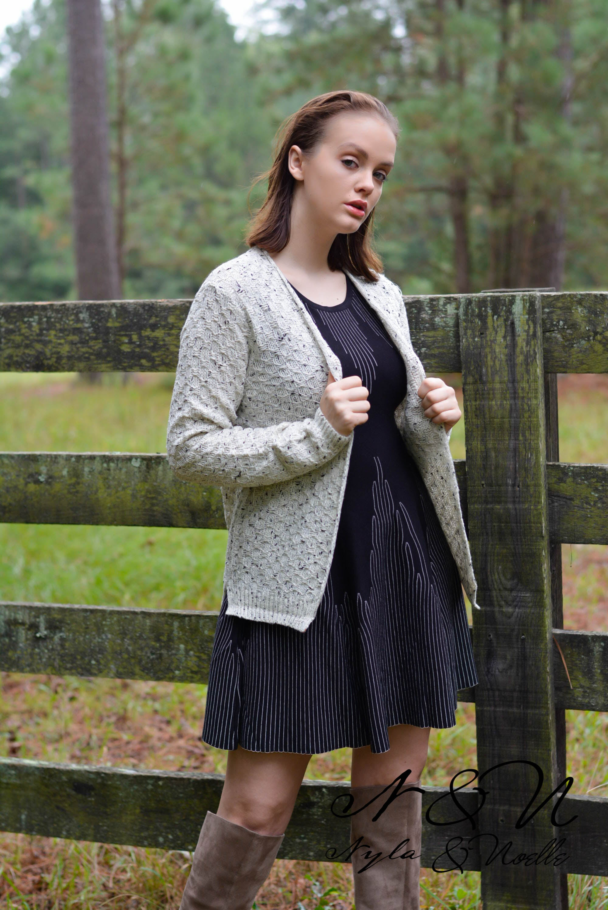 ELOQUENT - Textured Sweater Knit Cardigan
