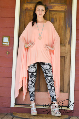 HEARTS FLUTTER - Flowing Sleeve Poncho Top