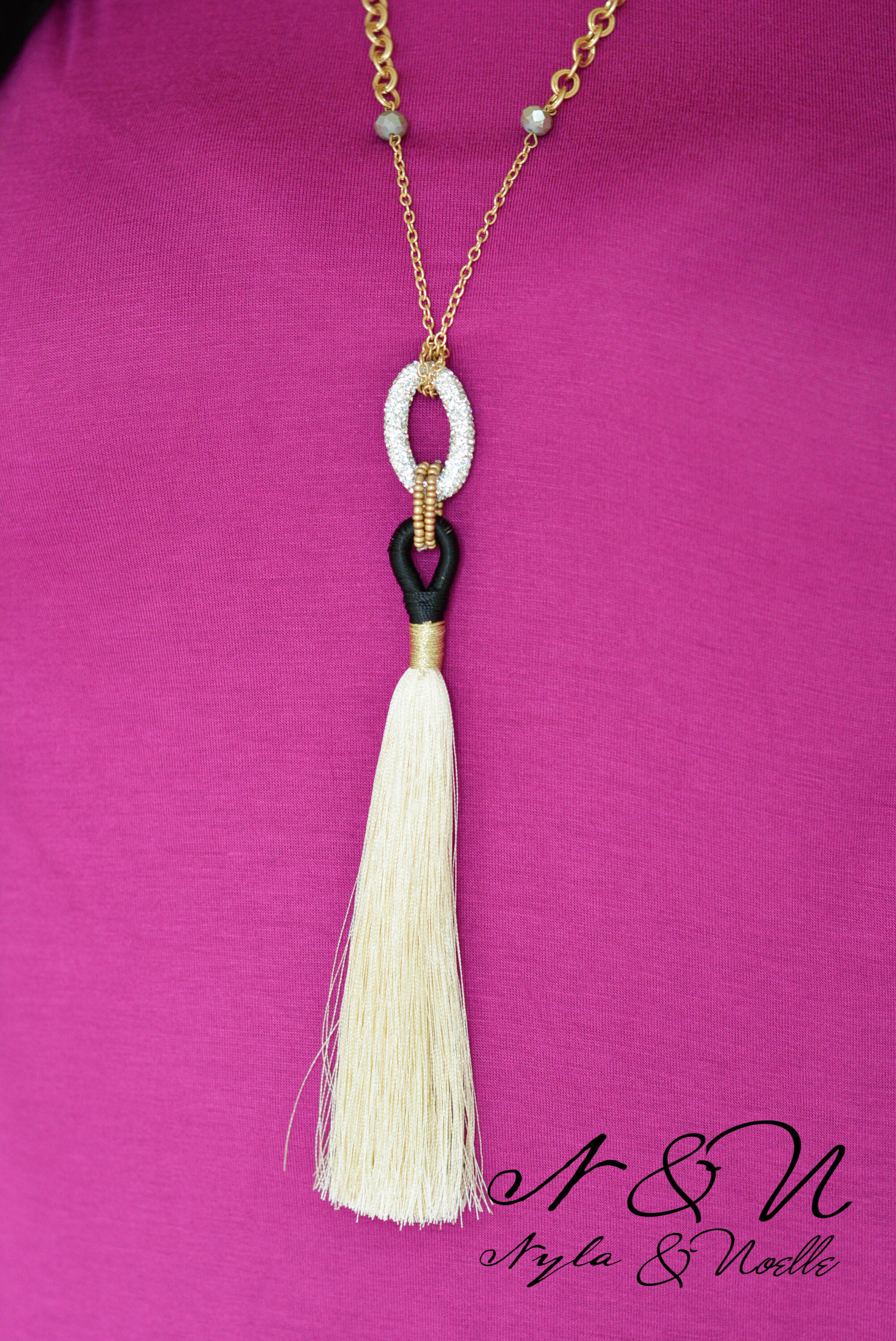 PALOMINO NECKLACE - Crystal and Tassel Necklace