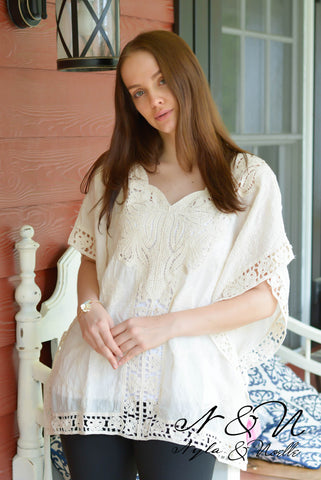 9eceae04513d9 AYANA - Boho Gauze and Crochet Lace Top.  39.00. CITRUS - Off The Shoulder  Boho Print Top with Bell Sleeves