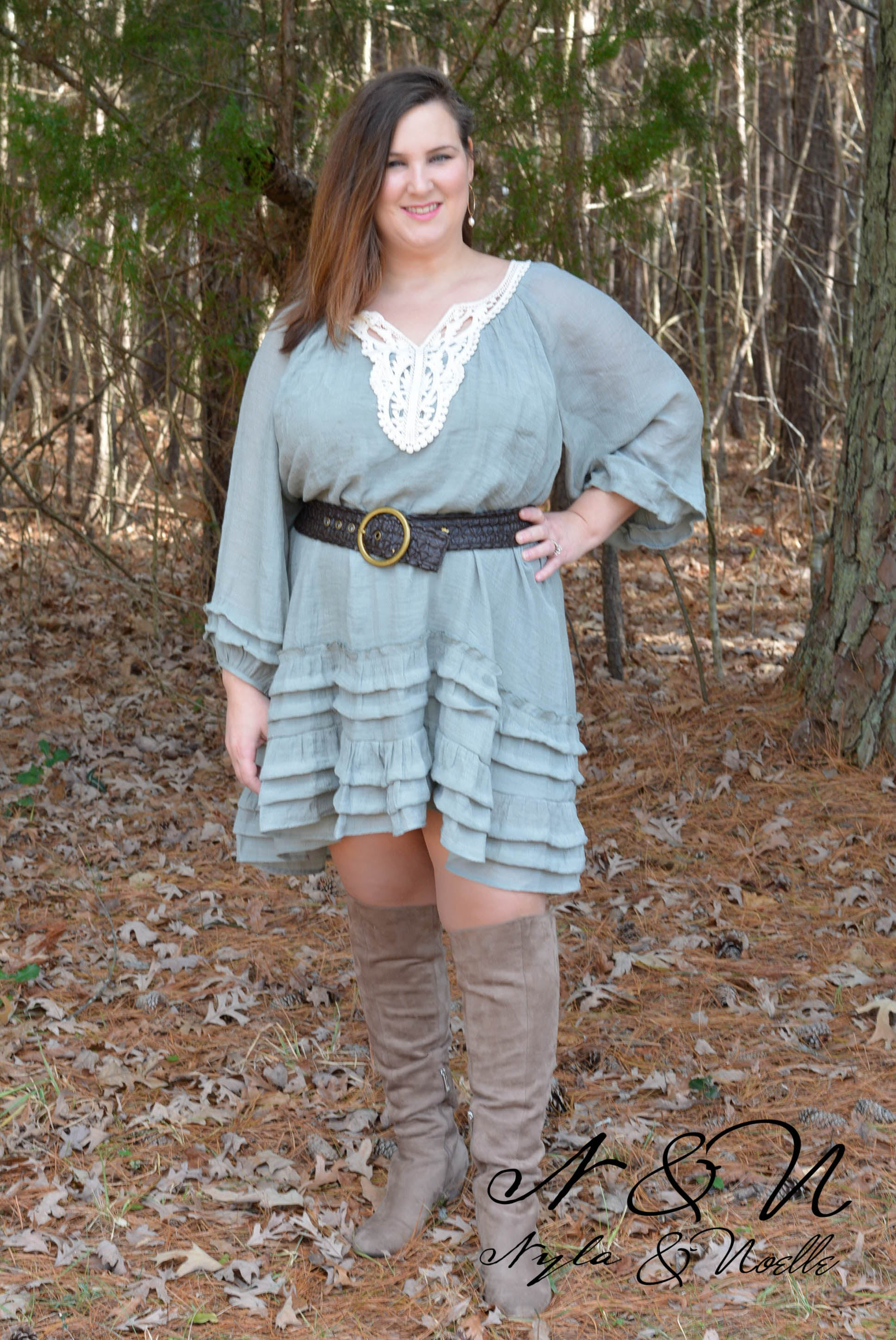 OPAL - Sage Ruffle BOHO Chic Dress