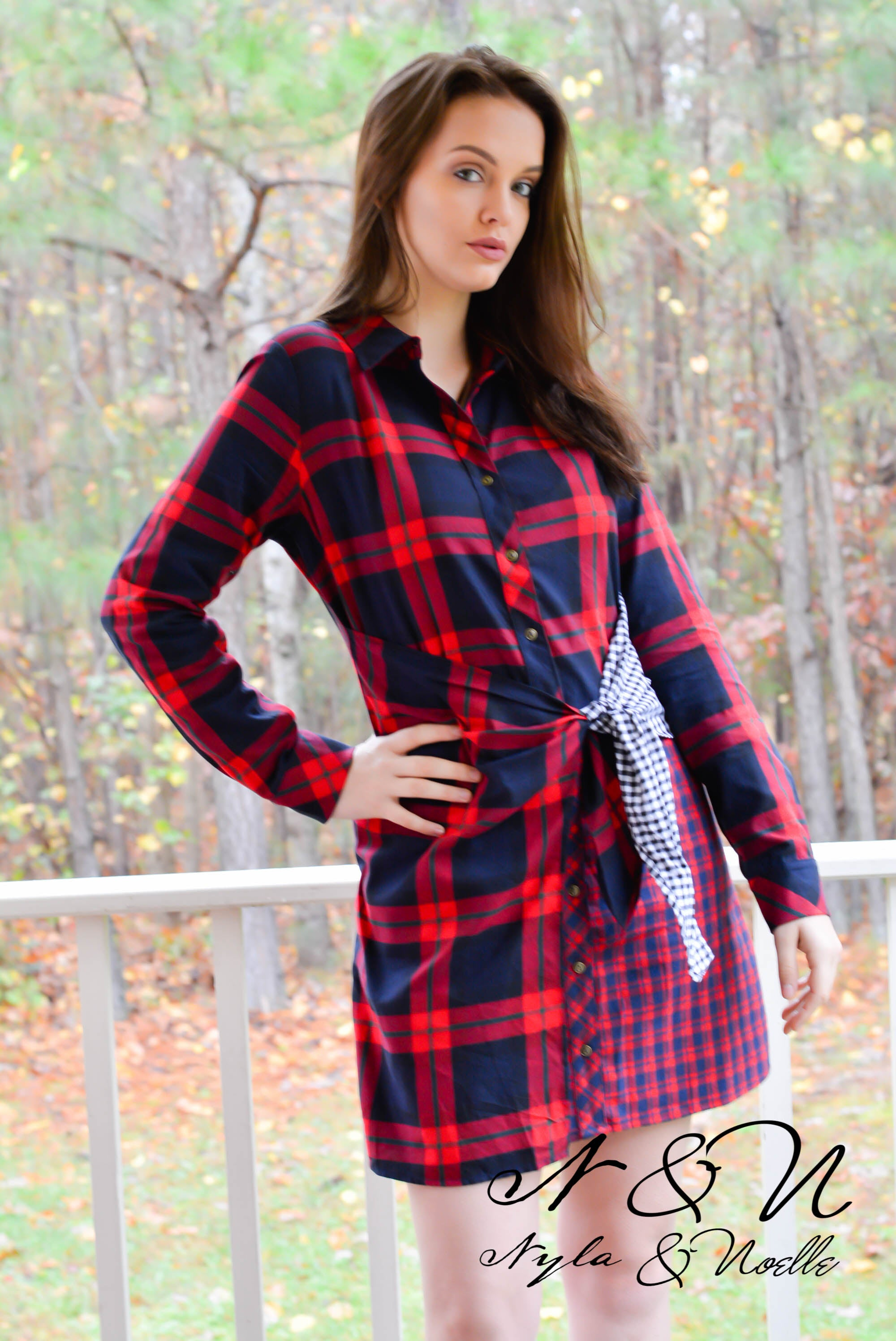 SLEIGH BELLS - Plaid and Gingham Wrap Dress