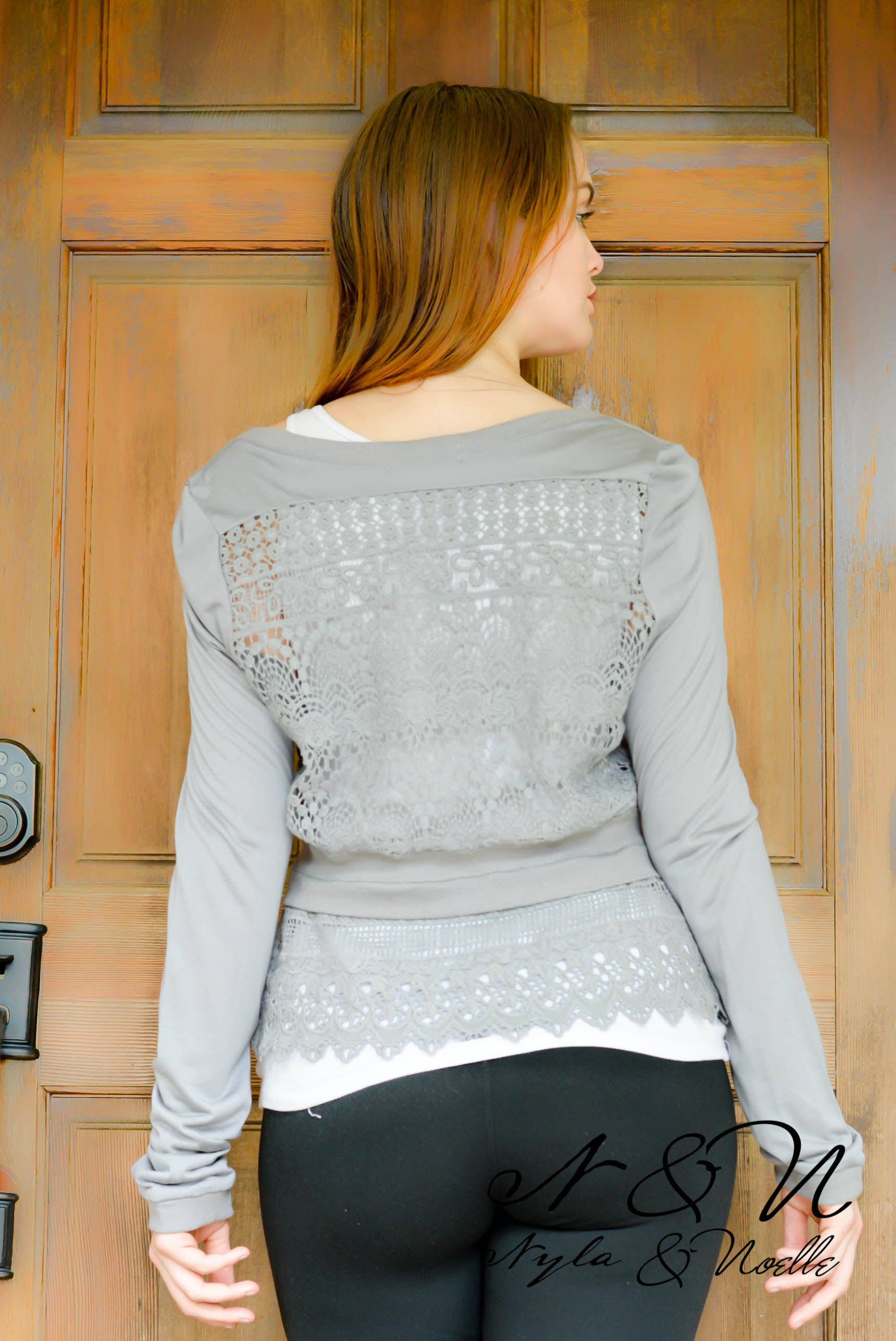 CLOVER - Lace Bottom and Back Cardigan