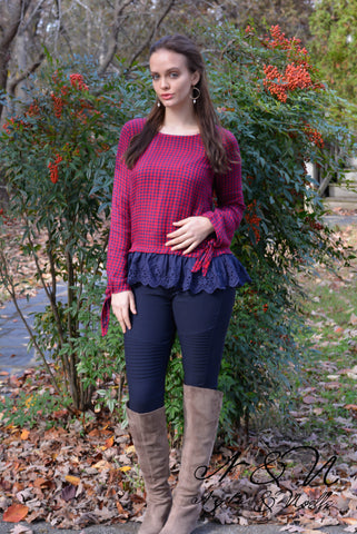 APPLE PIE - Red Gingham Top with Lace
