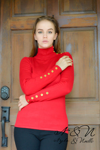 BARDOT Red Mock Turtle Neck Top with Gold Buttons