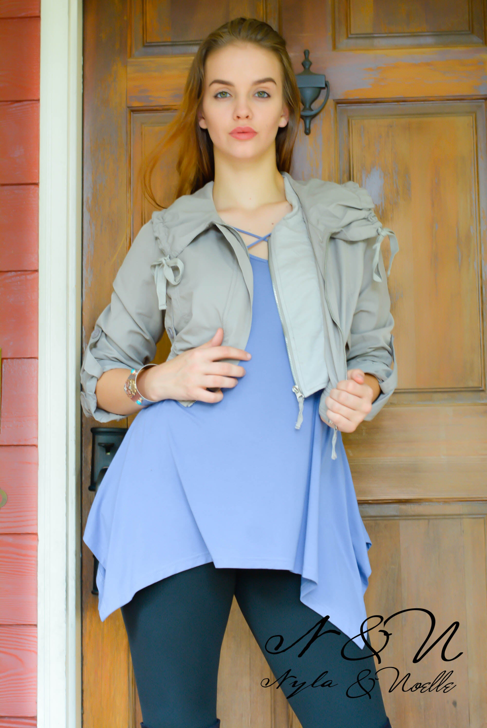 Marlowe (Dusty Gray) Crop Moto Jacket