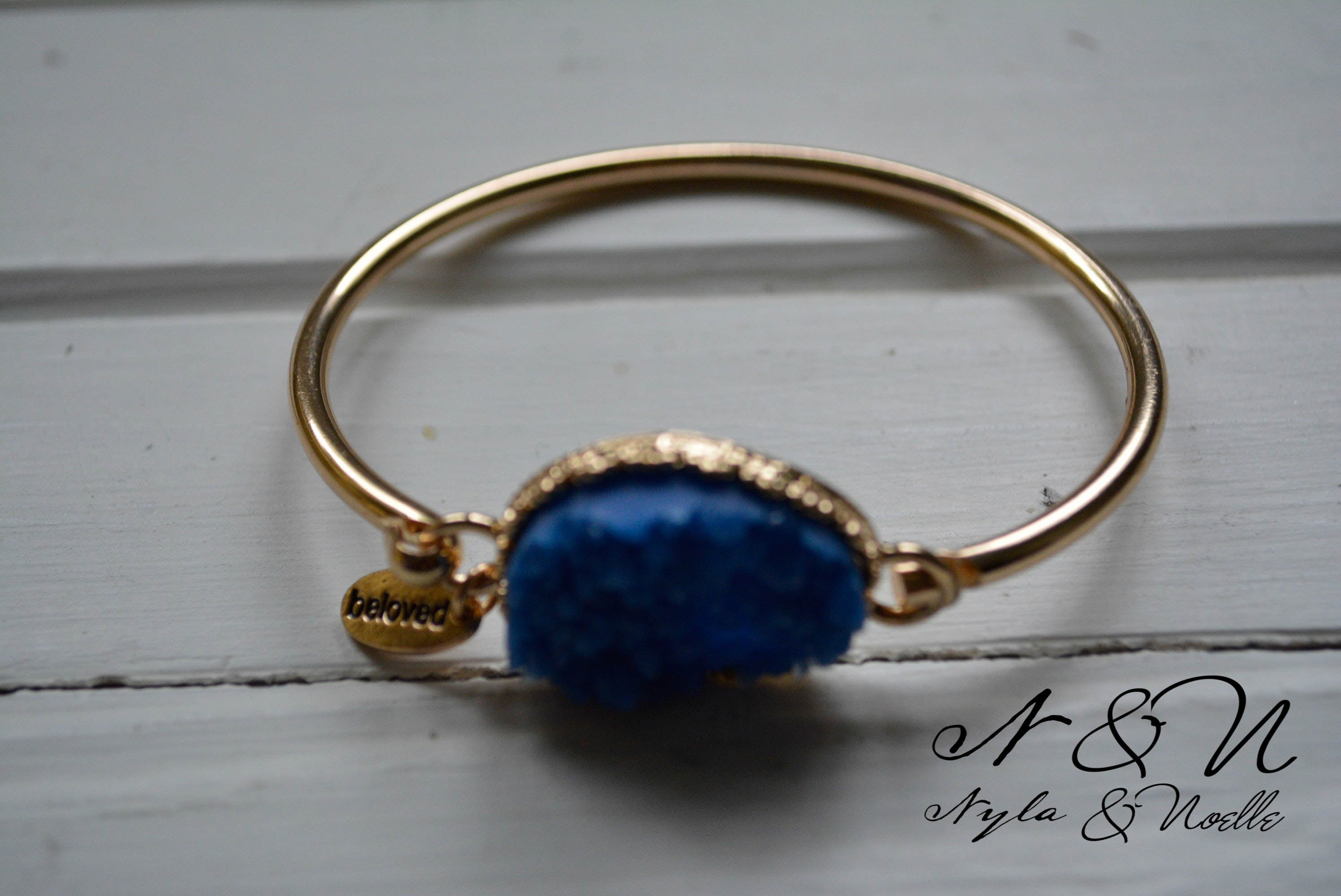 BRAZEN BLUE - Gold Tone Bangle with Blue Druzy Stone