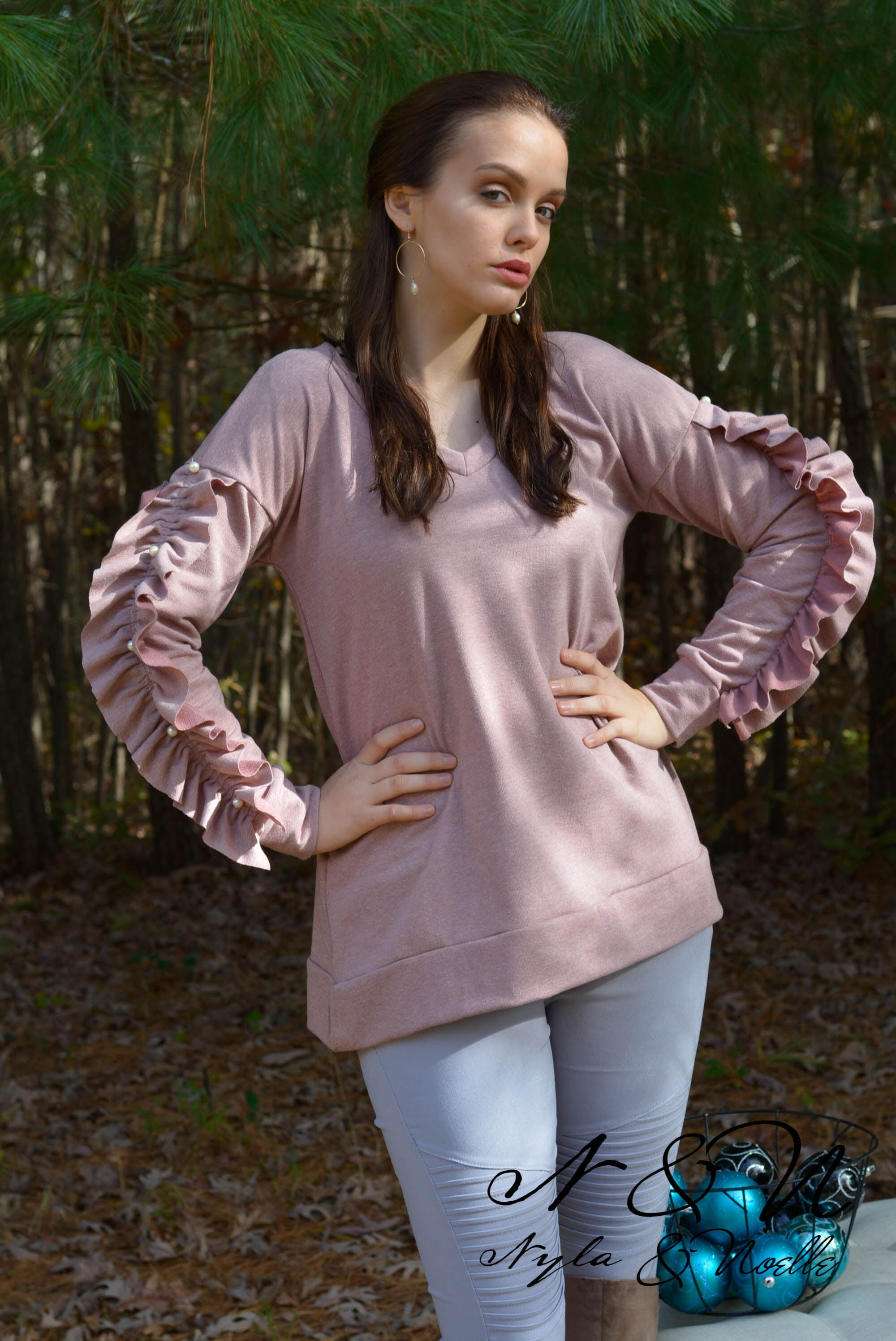 SPARKLE - Pearl Accented Ruffle Sleeve Top