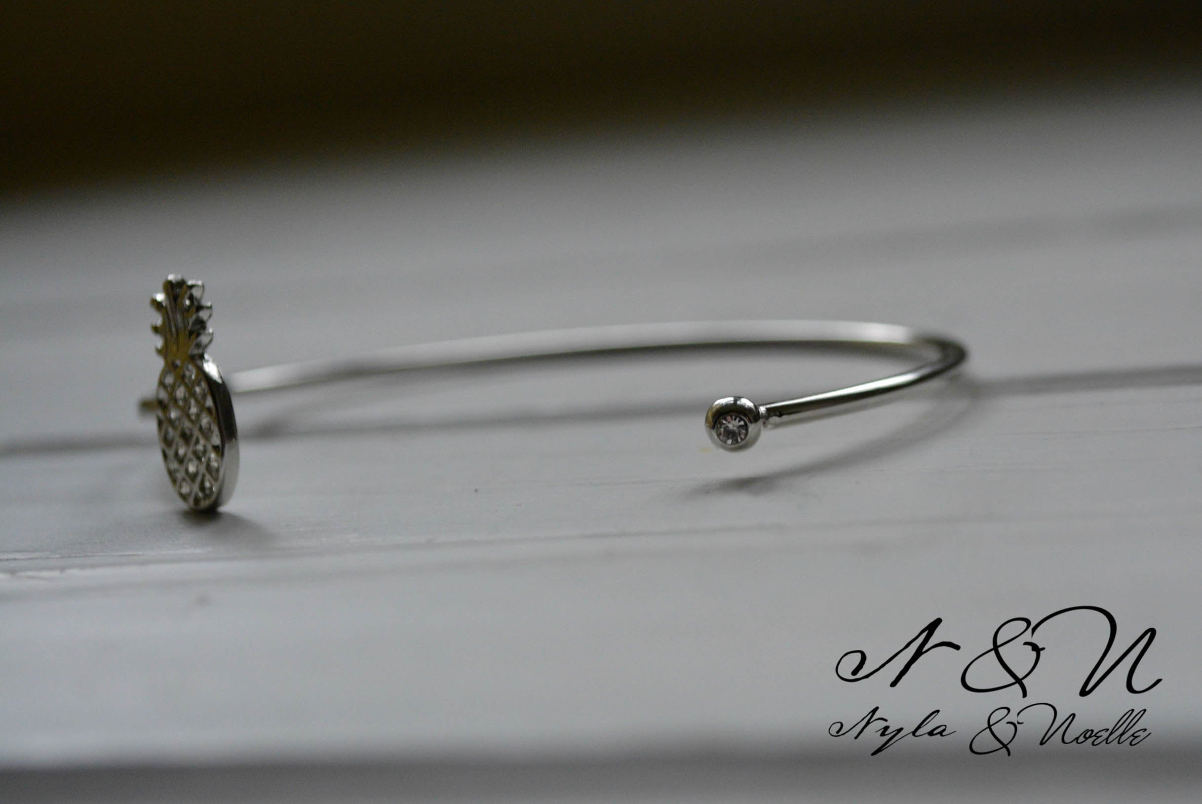 PINEAPPLE DAZZLE -  Silver Tone Open Wire Bangle