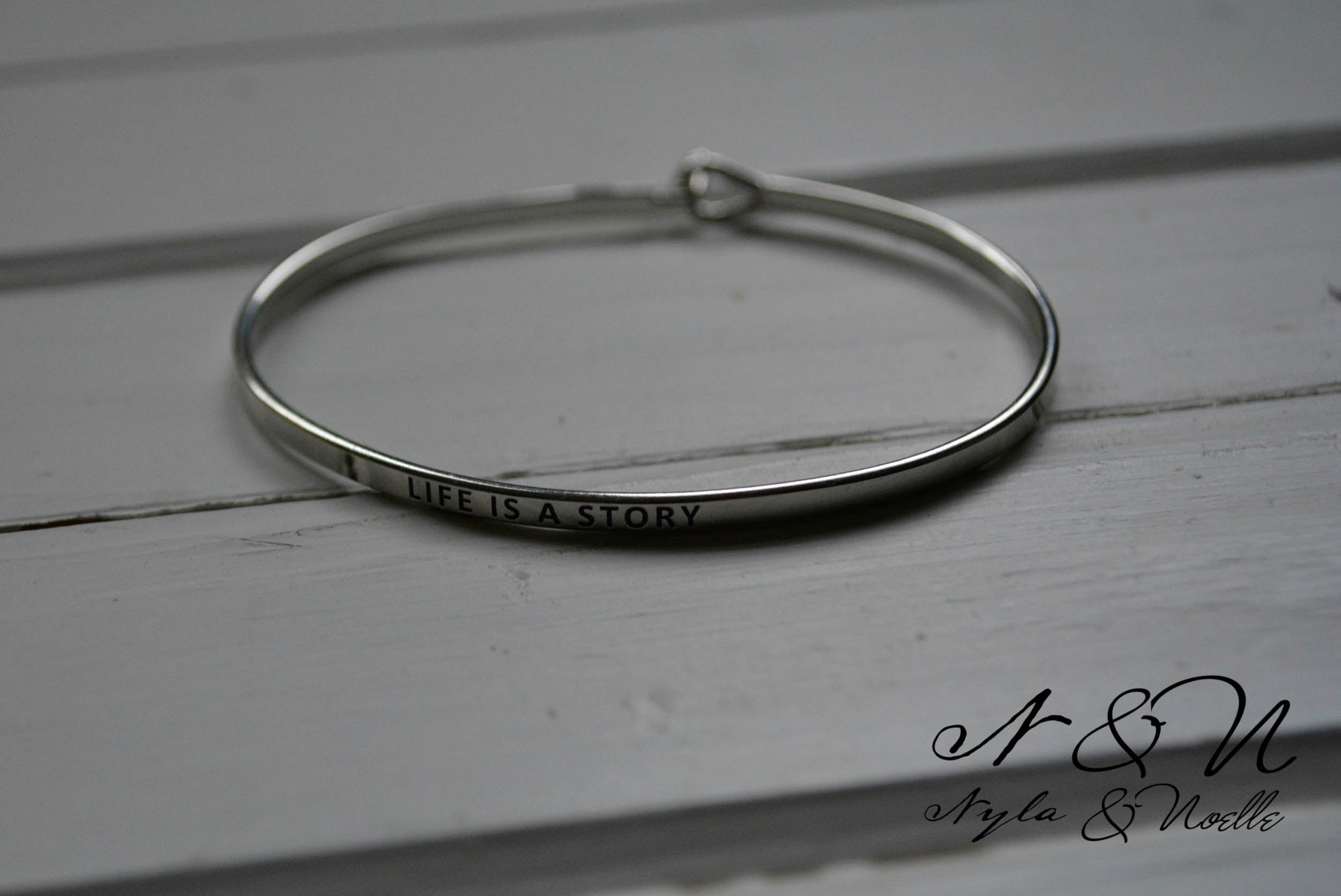 STORY TIME - Simple Silver Tone Inspirational Bangle Bracelet