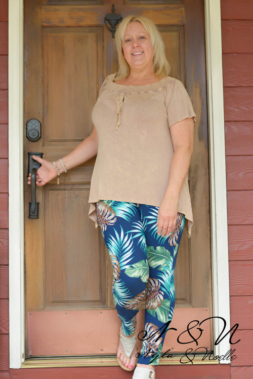 CABANA - Navy Plus Size Tropical Print Jeggings