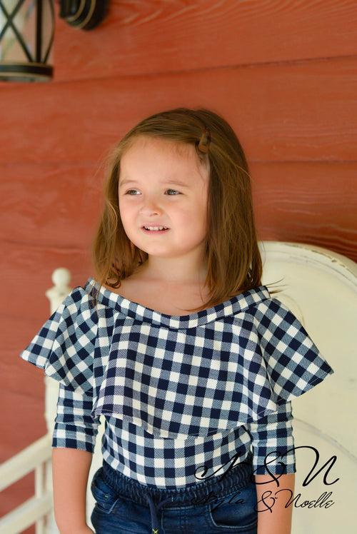 SUNSHINE - Girls Ruffled Top Navy Checked Bodysuit
