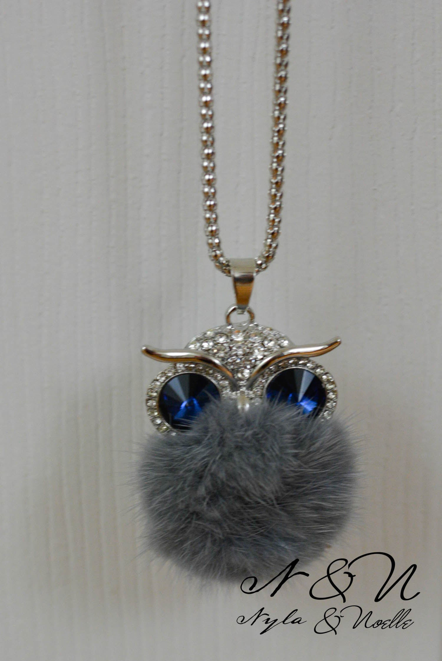 SHY OWL - Crystal and Fur Silver Tone Owl Necklace